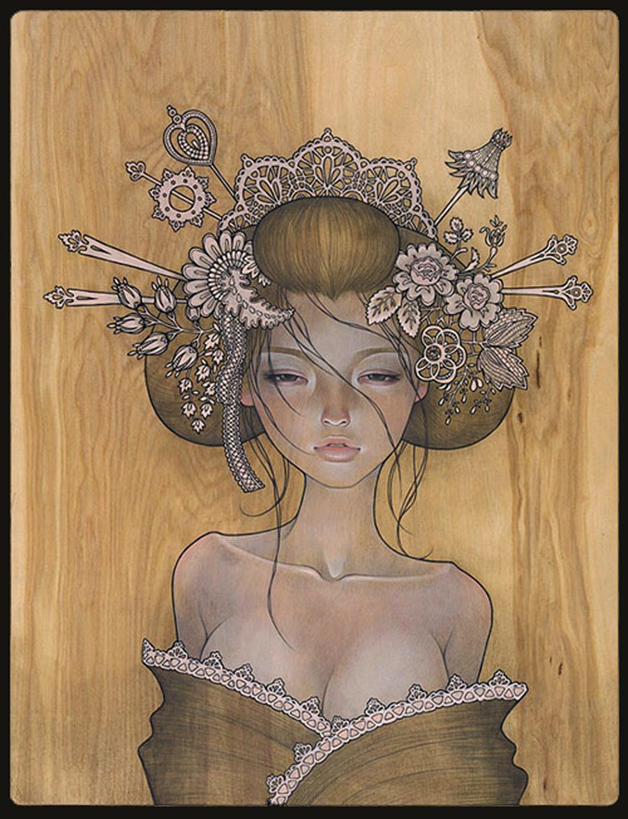 Genuine woodprint painting of geishas where